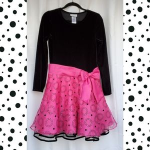 Bonnie Jean Black Velour and Hot Pink Dress